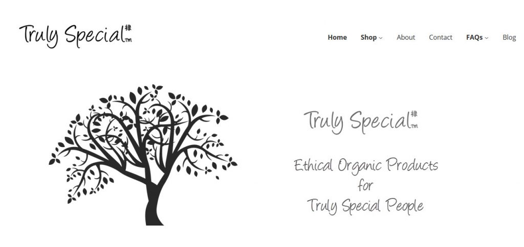 front page of trulyspecial.net shop